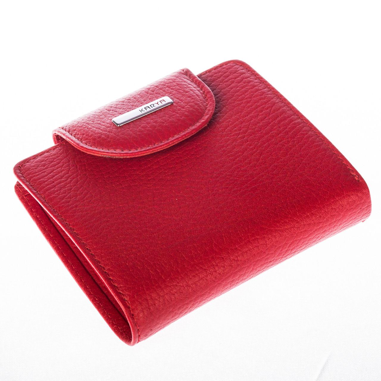 Маленький женский кошелек кожаный красный Karya 1052-46