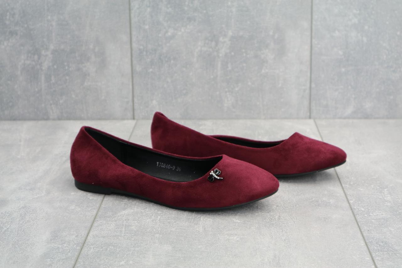 Летние женские балетки замшевые стильные модные туфли на низком ходу в бордовом цвете
