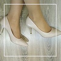 Классические туфли Lino Marano A26-8 беж кожа маленькая шпилька, фото 1