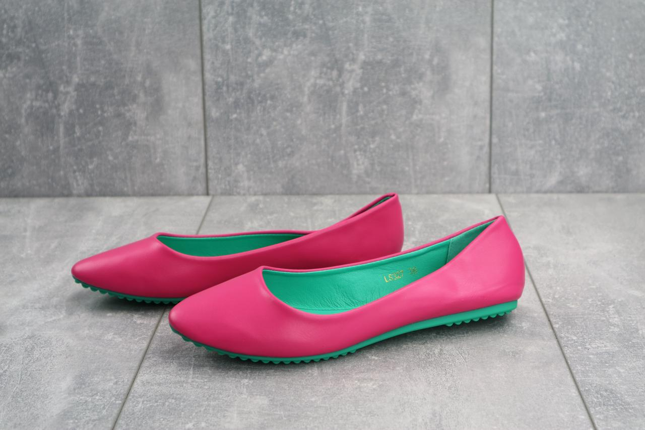 Балетки женские кожаные яркие стильные молодежные в розовом цвете