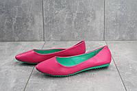 Балетки женские кожаные яркие стильные молодежные в розовом цвете, фото 1