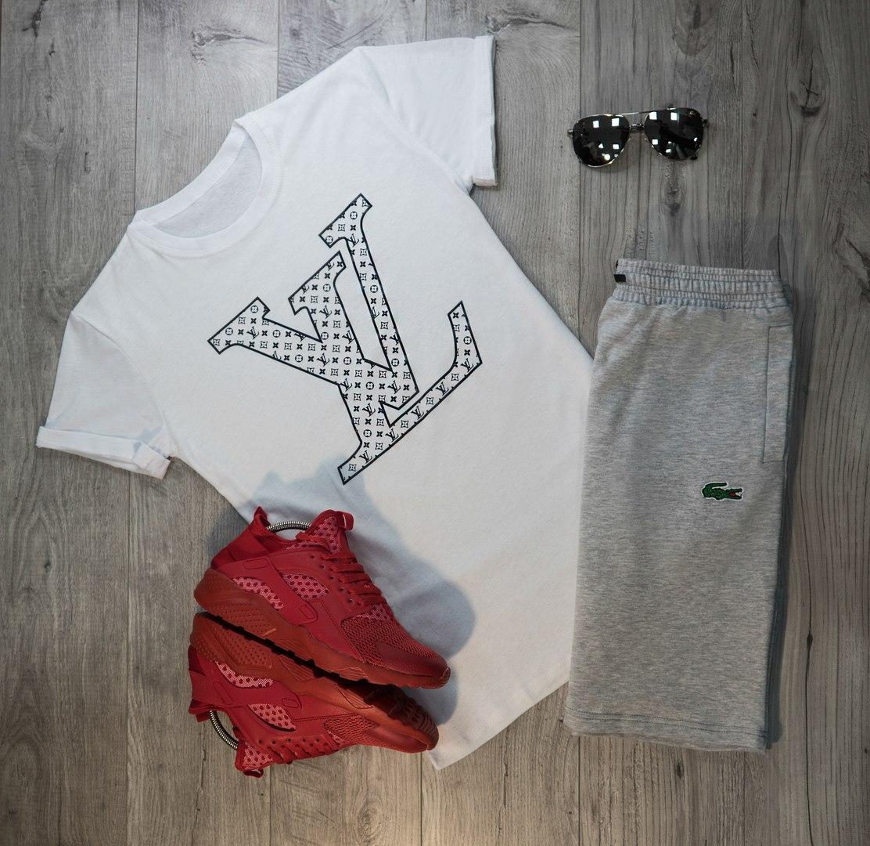 Мужские шорты в стиле Lacoste серые (S, M, L, XL, XXL размеры)