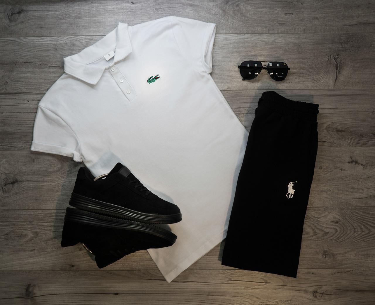 Мужские шорты в стиле Ralph Lauren Polo черные (S, M, L размеры)