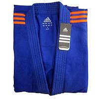 Кімоно для дзюдо Adidas Club J350 Blue помаранчеві смуги, фото 1