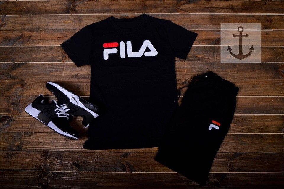 Мужские шорты в стиле FILA черные (S, M, L, XL размеры)