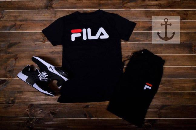 Мужские шорты в стиле FILA черные (S, M, L, XL размеры), фото 2
