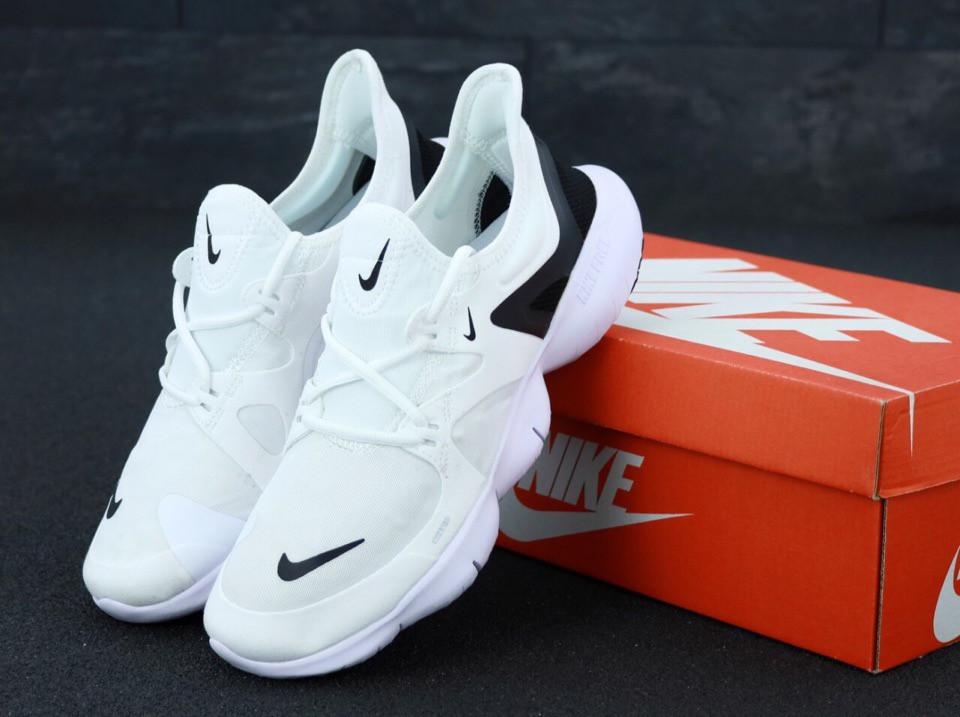 Мужские кроссовки Nike Free Run (бело-черные)