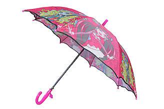 """Яркий детский зонт трость полуавтомат для девочек со свистком и героями мультфильма """"Леди Баг"""""""