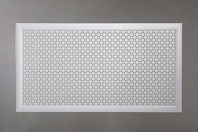 "Решетка на чугунную батарею ""Стандарт"", 68 см х 128 см, цвет белый Сити"