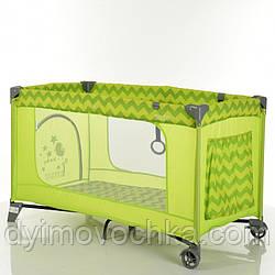 Манеж детский ME 1016 SAFE Green Zigzag, 2 колеса, вход-змейка