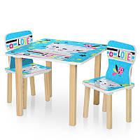 Детский столик и 2 стульчика 506-58-2, столешница 60х60 см/высота 49 см, голубая кошка