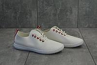 Кожаные женские мокасины на лето повседневные легкие на шнуровке (белые), фото 1