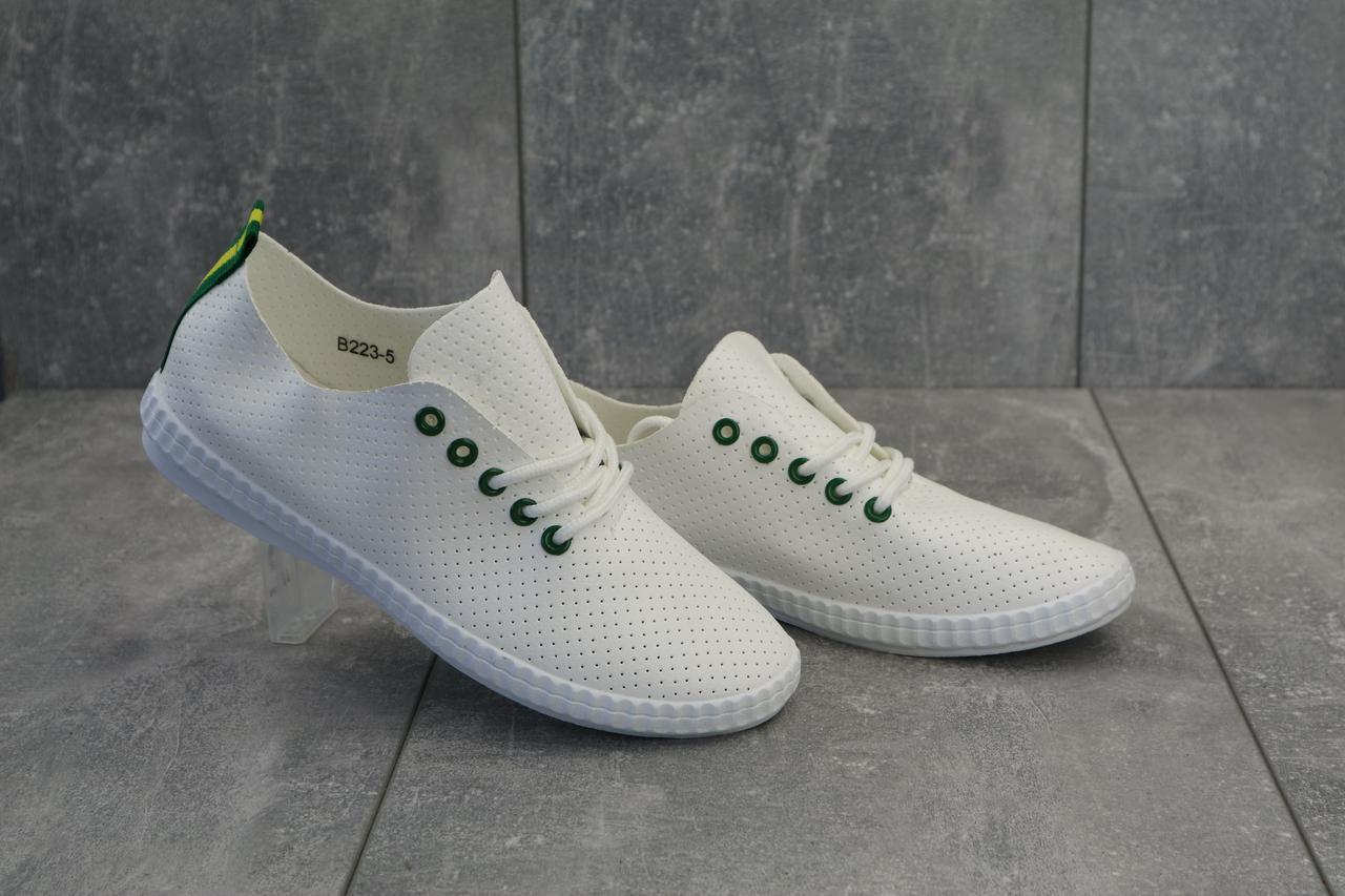 Мокасины женские летние из кожи молодежные практичные повседневные легкие на шнуровке (белые)
