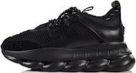 Мужские кроссовки Versace Chain Reaction Triple Black (Версаче) в стиле черные