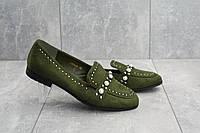 Женские туфли весенние замшевые оригинальные на низком каблуке со стразами в зеленом цвете, фото 1
