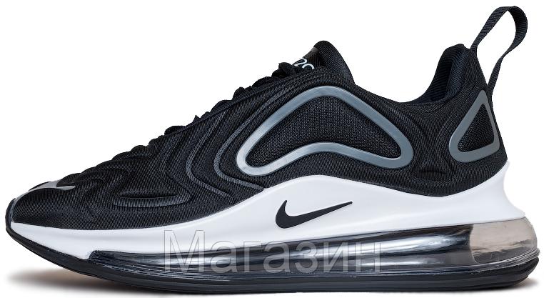 Мужские спортивные кроссовки Nike Air Max 720 Black / Ftr White (Найк Аир Макс 720) черные с белым
