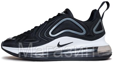 Мужские спортивные кроссовки Nike Air Max 720 Black / Ftr White (Найк Аир Макс 720) черные с белым, фото 2