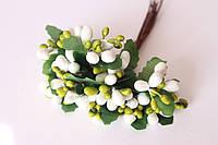 Декоративные веточки с тычинками 10-12 шт/уп. в глитерной обсыпке белый с зеленым, фото 1
