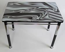 Стол кухонный на металлических ножках со стеклянной столешницей Камилла нераздвижной премьер 1 Eurostek