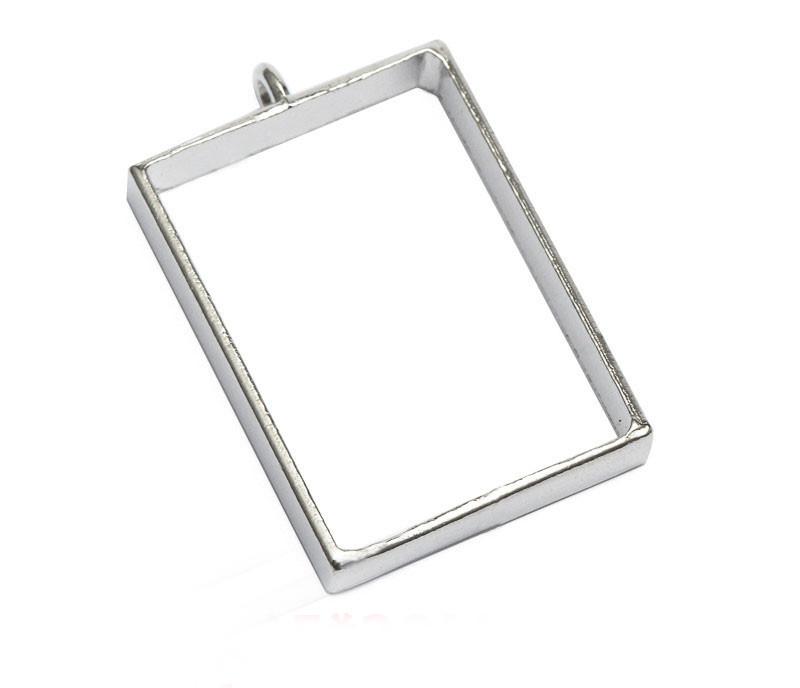 Подвеска металл, под заливку эпоксидной смолой,прямоугольник, цвет серебро.