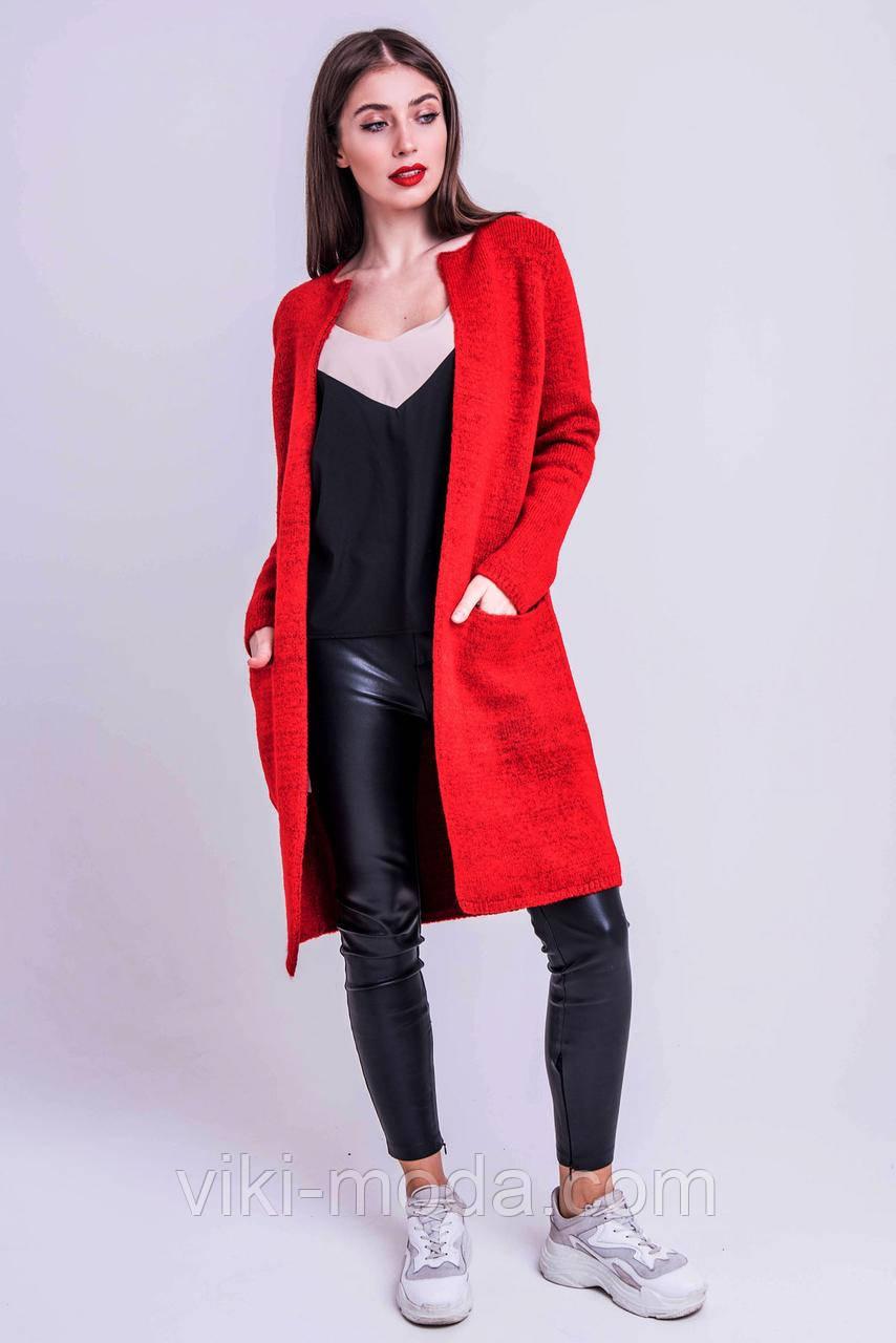 Стильный молодежный вязаный кардиган Тера качество ЛЮКС, цвет красный, фото 1