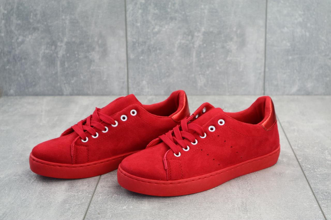 Кеды женские из замши яркие молодежные на шнуровке (красные)