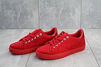 Кеды женские из замши яркие молодежные на шнуровке (красные), фото 1