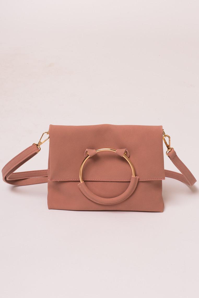 Женская сумка с ручкой кольцом LUREX - пудра цвет, Малый (есть размеры)