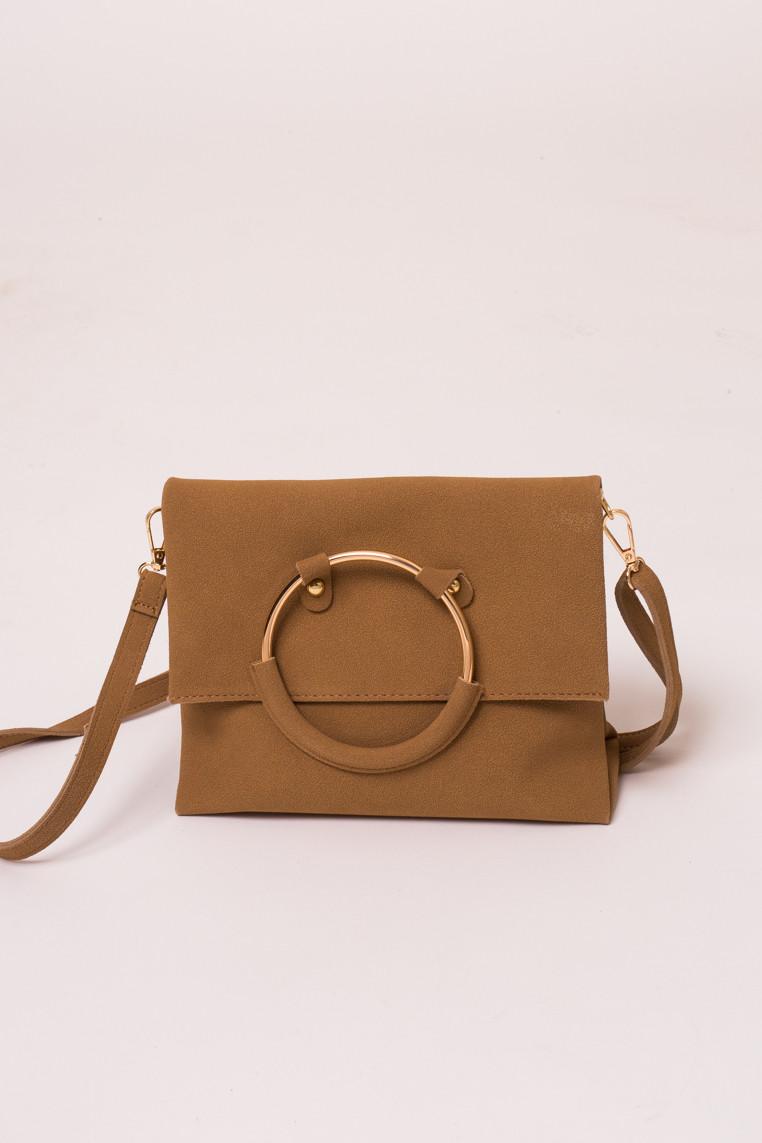 Женская сумка с ручкой кольцом LUREX - св-коричн цвет, Малый (есть размеры)