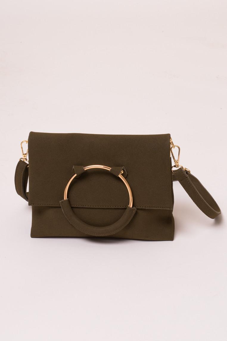 Женская сумка с ручкой кольцом LUREX - хаки цвет, Малый (есть размеры)
