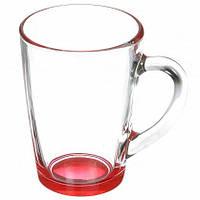 """Чашка стеклянная с цветным дном """"Капучино"""" 300 мл."""