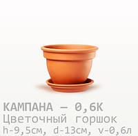 Горшок керамический  для цветов Кампана  9,5*13*0,6 литра