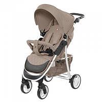 Коляска детская прогулочная Carrello Quattro SILK Беж  Лен белая рама