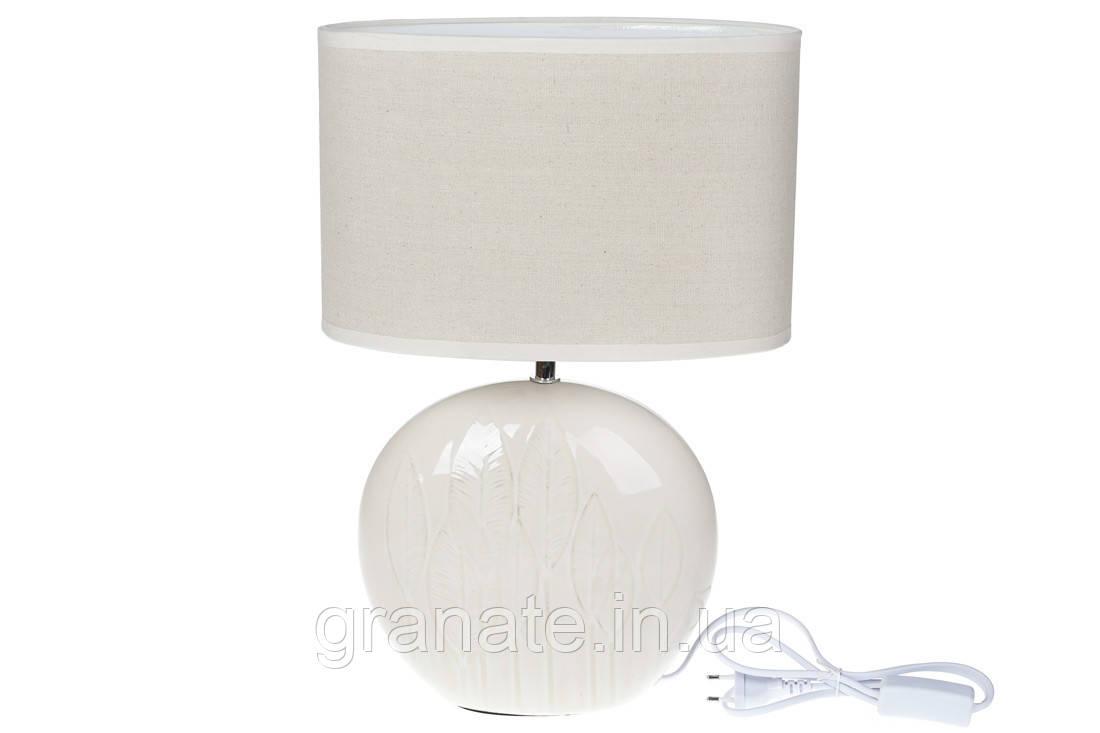 Лампа настольная с абажуром 44 см, цвет: белый с патиной