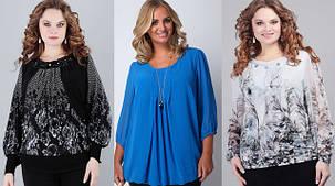 Блузи, туніки, кофти жіночі (розміри 44-64)