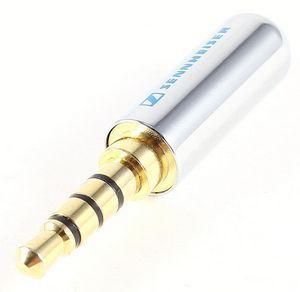 Штекер стерео 3.5 Jack (4 pin), Sennheiser (с фиксатором для кабеля) SILVER