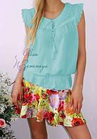Блузка летняя, женская с прошвой. Хлопок. Цвет мята 44-48 р.