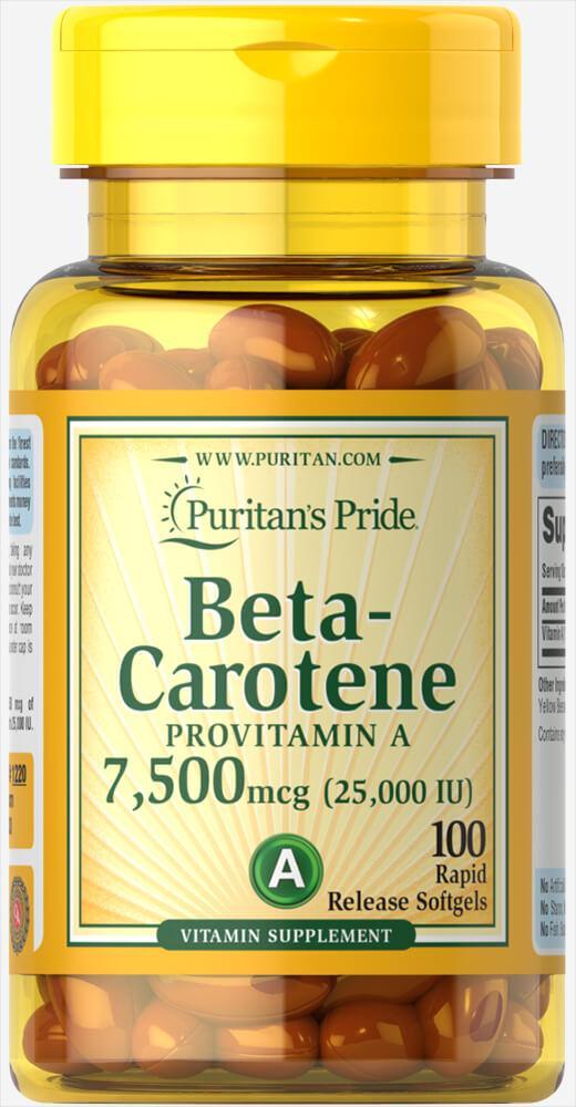 Puritan's Pride Beta-Carotene 25000 IU, Бета-каротин (100 капс.)