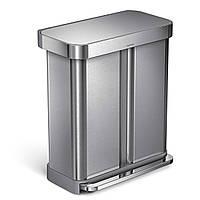 Сміттєвий бак Simplehuman 58 litre dual compartment pedal bin with liner pocket