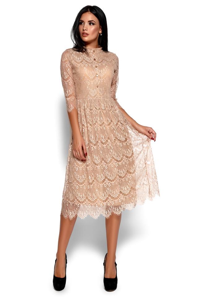 Жіноча святкова сукня літня, гіпюрова бежевого кольору, молодіжна, міді, приталена, коктейльна