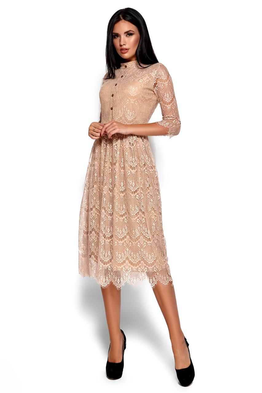 Жіноча святкова сукня гіпюрова бежевого кольору, молодіжна, міді