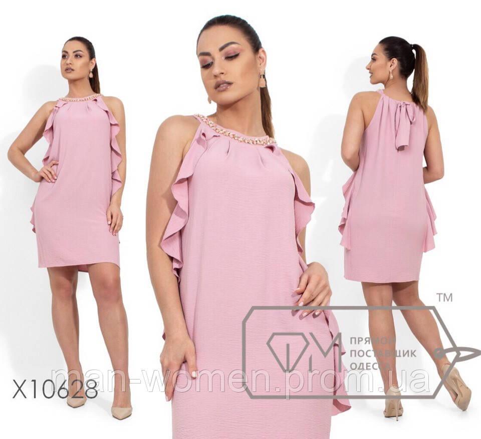 Нарядное платье с воланами спереди из ткани креп-жоржет - Размер: 48.50.52 (РОЗНИЦА +30грн)