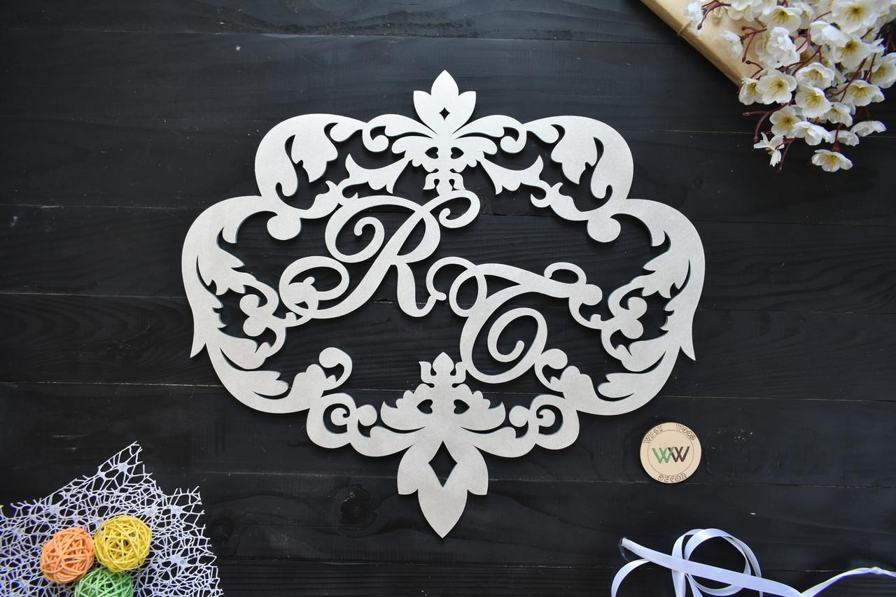 Свадебный герб, монограмма, герб семьи с инициалами, инициалы на свадьбу (для украшения фотозоны или ширмы)