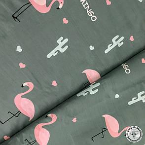 """Бязь Gold хлопковая """"розовые фламинго с кактусами на темно-сером"""", фото 2"""