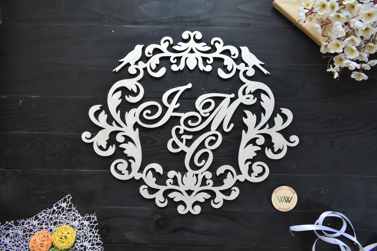 Свадебный герб, монограмма для свадьбы, первые буквы имен и фамилии, фамильный герб из дерева, объемные буквы