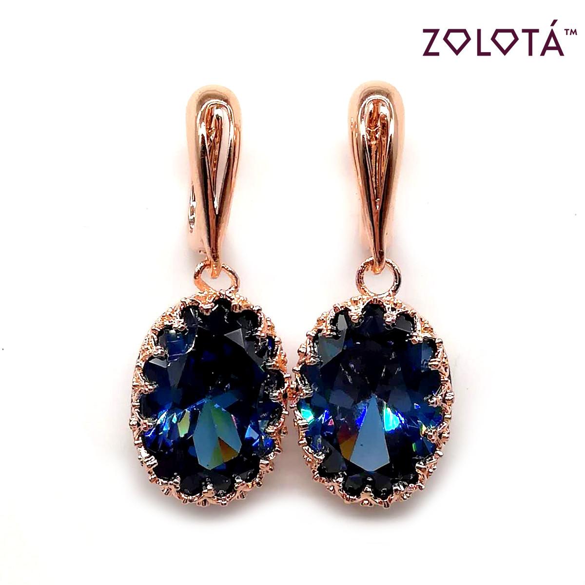 Сережки Zolota з синіми фіанітами (куб. цирконієм), з медичного золота, в позолоті, ЗЛ00077 (1)