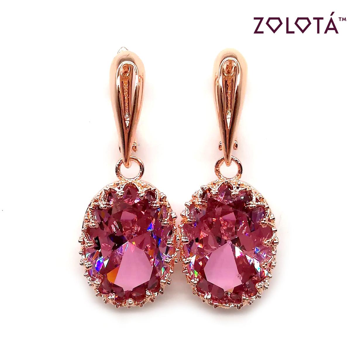 Серьги Zolota с розовыми фианитами (куб. цирконием), из медицинского золота, в позолоте, ЗЛ00078 (1)