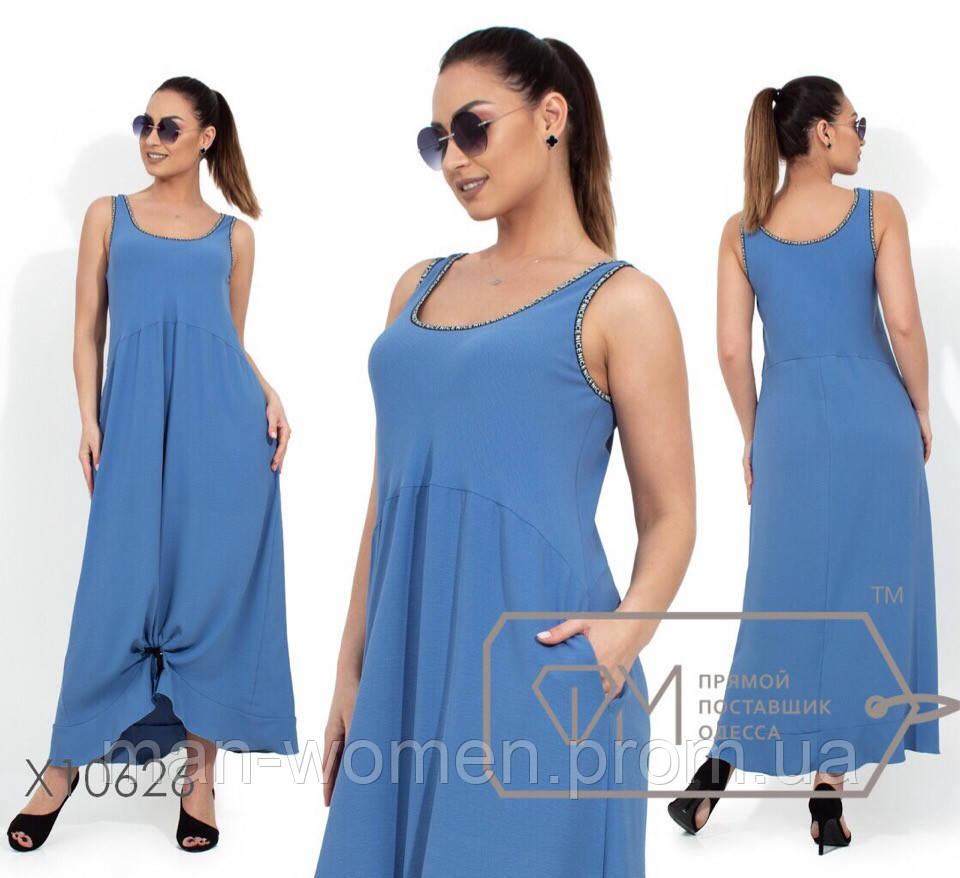 Длинное платье с карманами из летней ткани креп-жоржет - Размер: 50.52.54.56 (РОЗНИЦА +30грн)