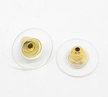 Металлические заглушки с пластиной для пуссет 11х6мм золото конусной формы для рукоделия