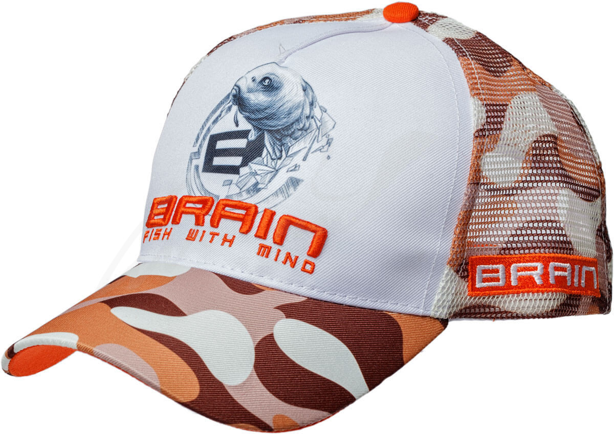 Кепка Brain Fish Logo Orange/Brown Camo